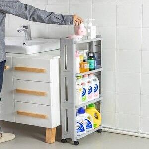 Image 2 - WBBOOMING Kitchen Storage Rack Fridge Side Shelf 3 and 4 Layer Removable With Wheels Bathroom Organizer Shelf Gap Holder