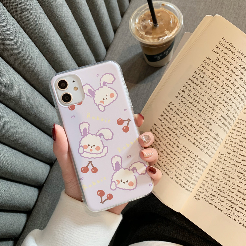 2020 Cartoon Cute Purple Cherry Rabbit Case For Iphone 11 11PROMAX 11PRO 6 6S 7 8 6Splus 7Plus 8Plus X XS XSMAX XR Soft Case