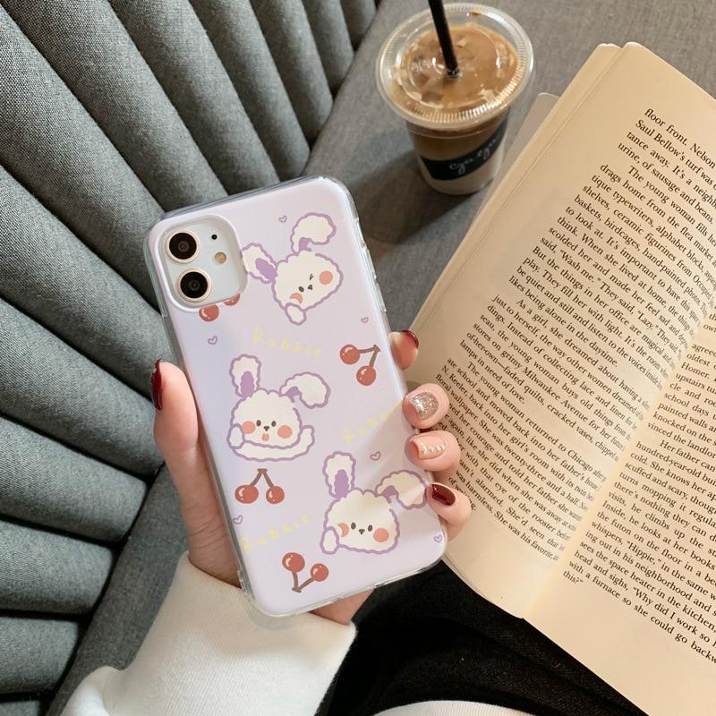 2020 Cartoon Cute Purple Cherry Rabbit Case For Iphone 11 11PROMAX 11PRO 6 6S 7 8 6Splus 7Plus 8Plus X XS XSMAX XR Soft Case