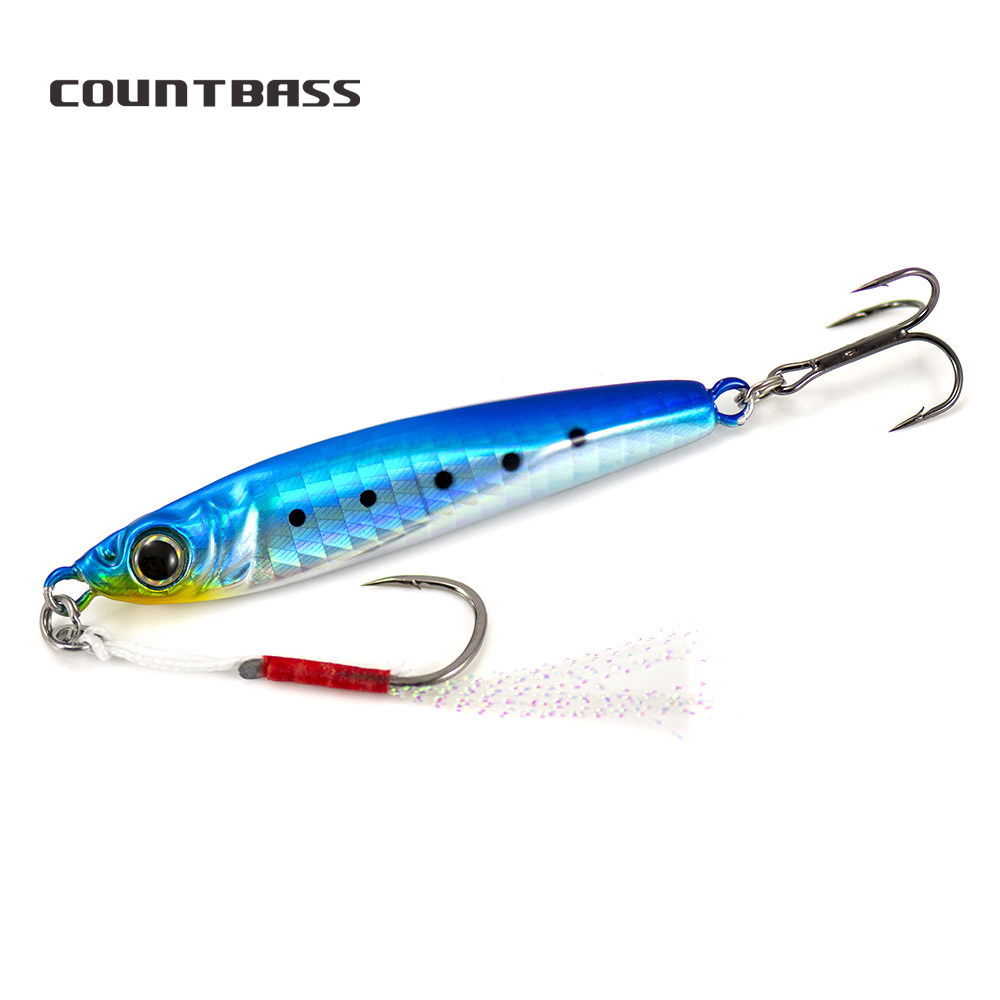 3PCS Countbass 15G 25G 35G 45G 65G Sniper Metal Cast Pesca Jigging Lures UV Color, Lead Fishing Jigs With Assist Hook