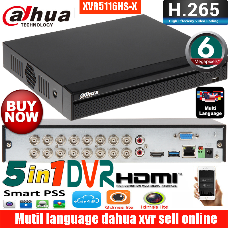 Mutil Language Dahua XVR5104HS-X XVR5108HS-X XVR5116HS-X 4ch 8ch 16ch XVR Max Support  HDCVI/ AHD/TVI/CVBS/IP Camera