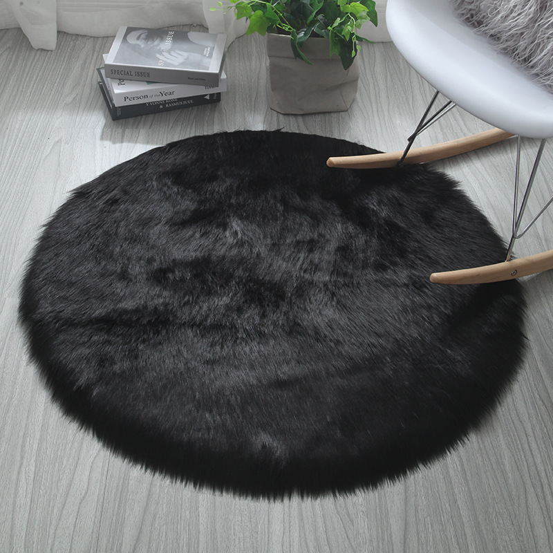 Round Area Circle Rug Plush Soft Carpet Faux Fur Rugs Home Living Room Bedroom Shaggy Black White Red Sheepskin Floor Chair Mat Rug Aliexpress