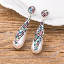 Fashion Luxury Wedding Jewelry Colorful Crystal Drop Long Earrings Best Gift for Women Cocktail Ornaments Statement CZ Earrings(China)