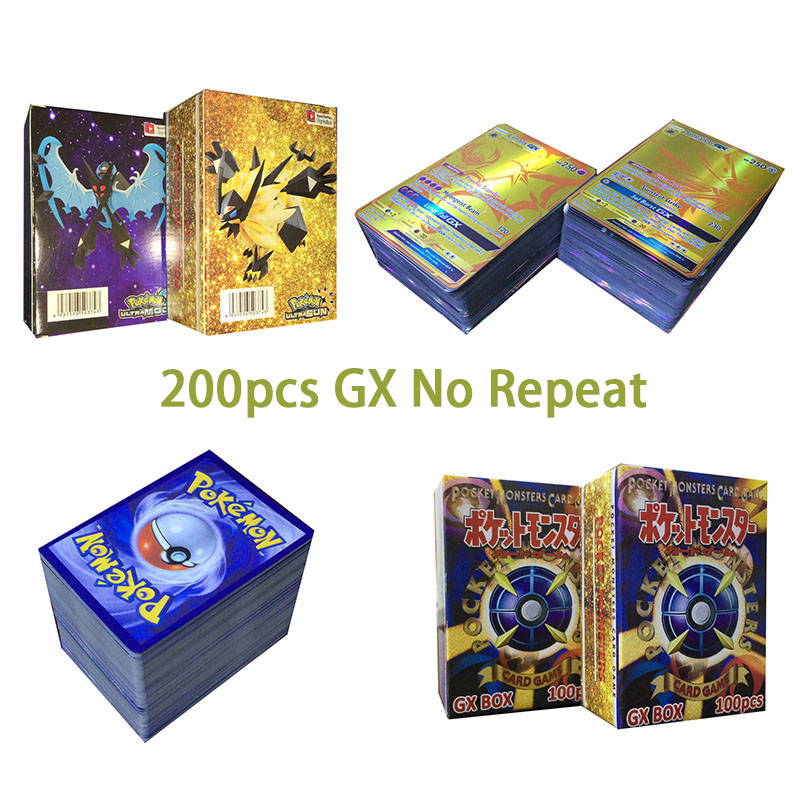 Original Takara Tomy Pokemon Cards Pokecard Shining Cards 200pcs GX No Repeat Game Collection Cards