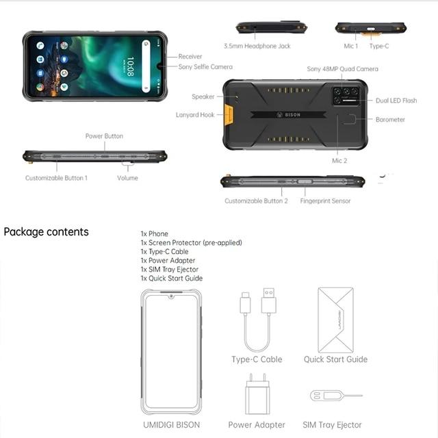 "UMIDIGI BISON Smartphone 6/8GB+128GB NFC IP68/IP69K Waterproof Rugged Phone 48MP Quad Camera 6.3"" FHD+ Display Android 10/11 6"