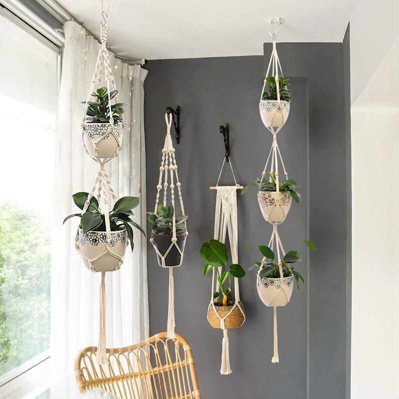 Offres spéciales 100% à la main macramé plante cintre fleur/Pot cintre pour mur décor cour jardin suspendus planteur suspendus panier