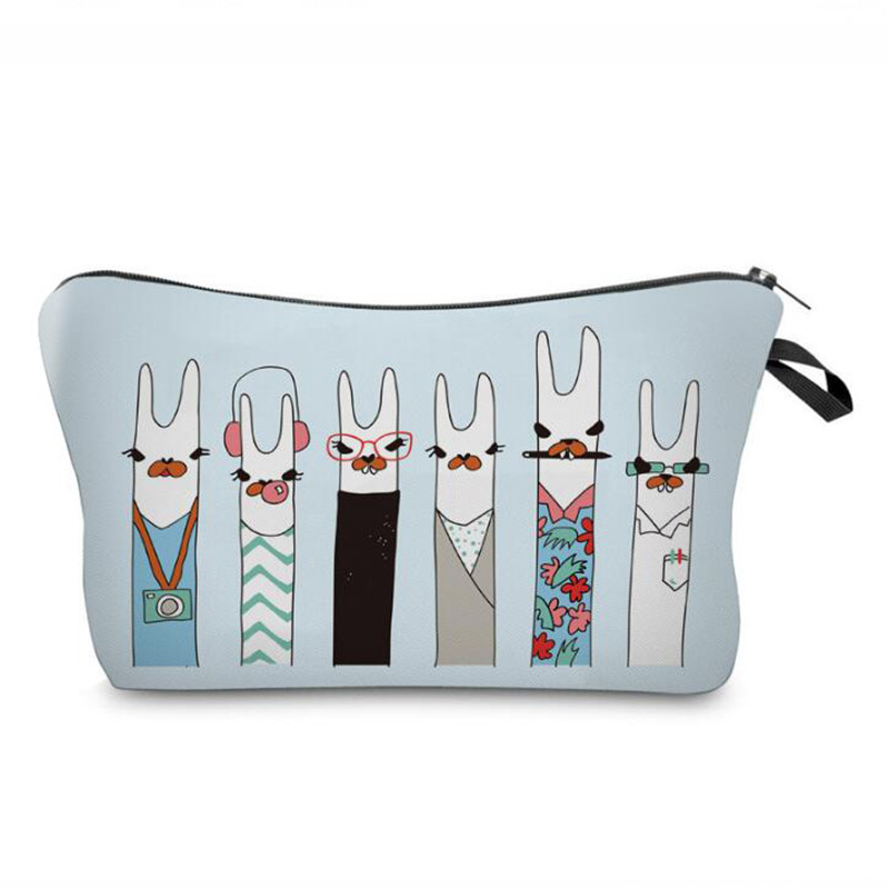 Cute Llama Pattern Make Up Bag Women Travel Organizer Cosmetic Bag Female Cute Animal Prints Cosmetic Brushes Pen Storage Pouch