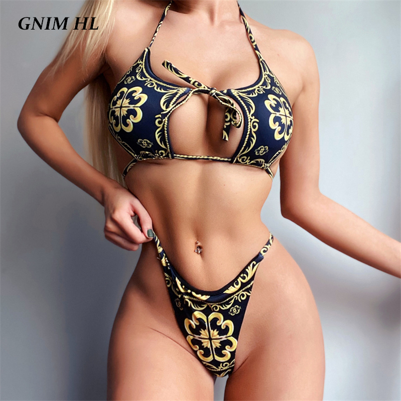 Bandage Swimsuit Women Two Piece Thong Bikini Mujer 2020 Sexy Hollow Out Print Bathing Suit Women Summer Halter Swimwear Biquini