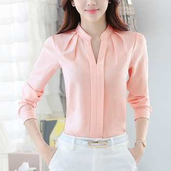 Women Brief Office Work Wear V Neck Shirts Long Sleeve Casual Tops Blouse white shirt women womens blouses and tops High quality 4
