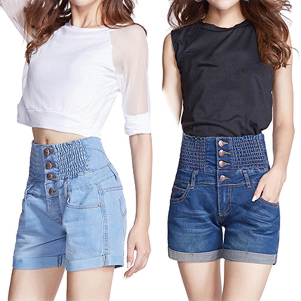 Women Denim Hot Elastic High Waist Pleated Straight Turn-up Jean Shorts