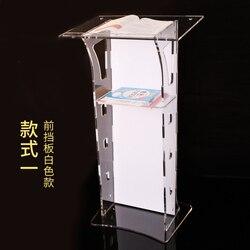 Proste i przezroczyste akrylowe podium powitalna platforma podium stół konsultacja recepcja mówiąca platforma zakupy gui w Biurka do recepcji od Meble na