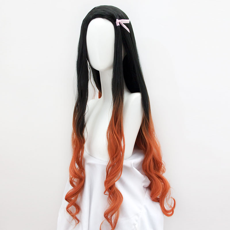MUMUPI Long Ombre Orange Wavy Wig Black Cosplay Synthetic Wigs for Women Glueless Hair High Density Temperature Halloween Wig