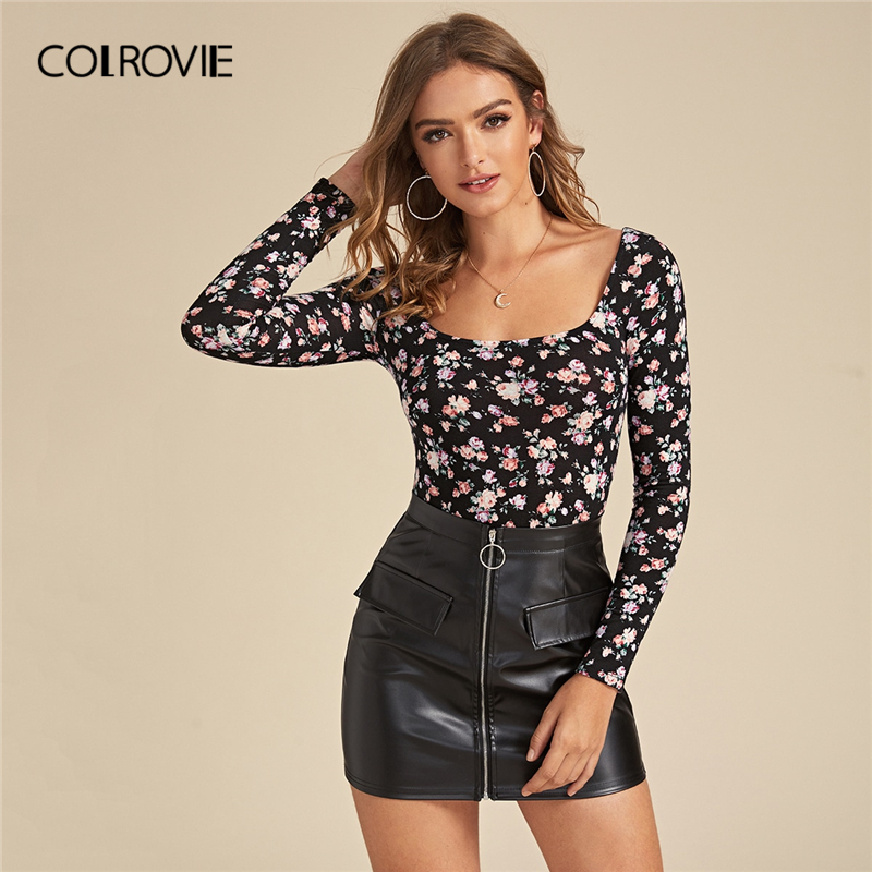 COLROVIE Allover Floral Print Form Fitted Tee Women Scoop Neck Casual Slim Fit Tees 2020 Spring Streetwear Elegant Pullover Tops