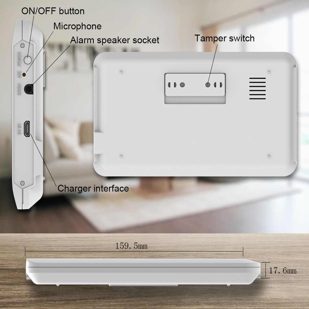 Kablosuz Wifi 433mhz Gsm alarm 4.3 inç tam dokunmatik renkli ekran sos siren duman dedektörü akıllı ev güvenlik Alarm sistemi