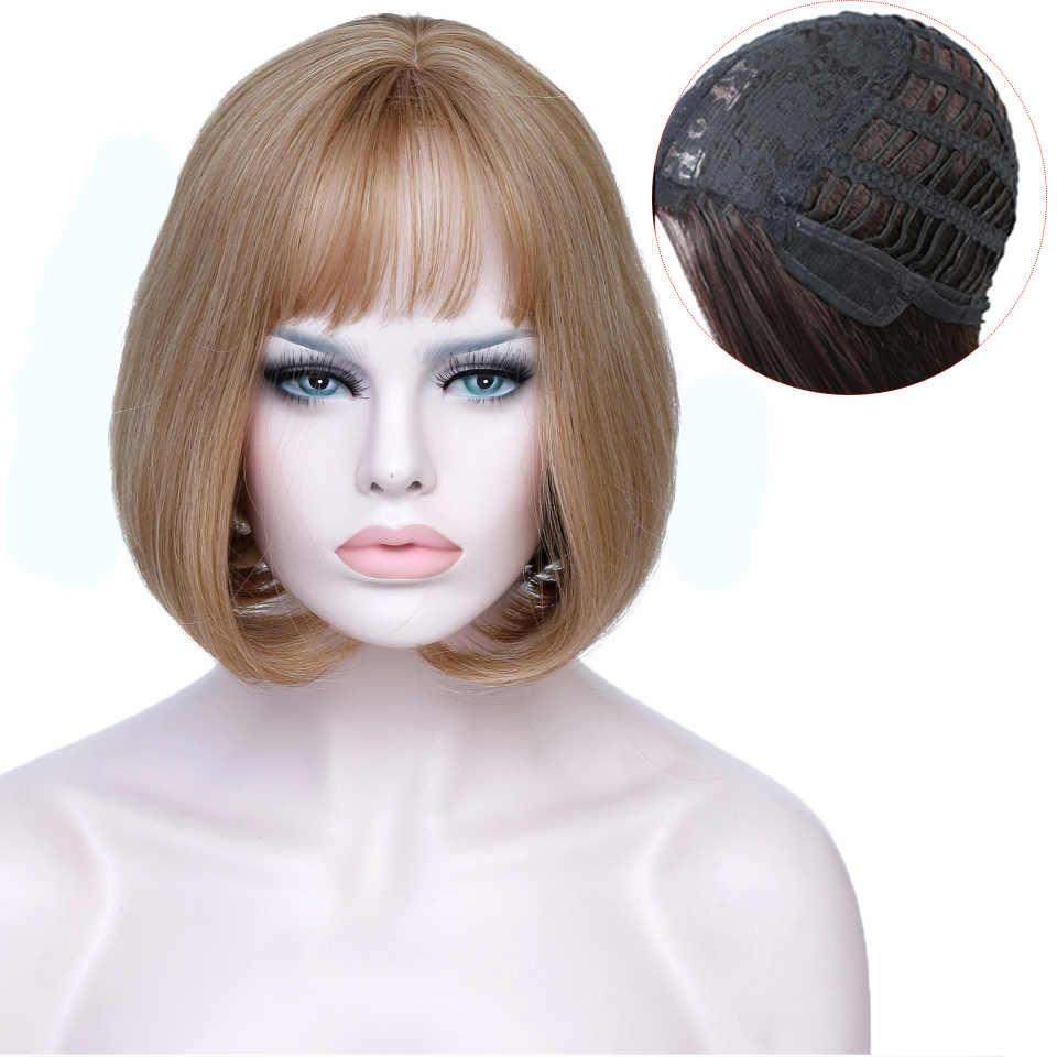 JINKAILI syntetyczne krótkie proste Bob z grzywką dla czarnych białych kobiet Cosplay codzienna peruka żaroodporna