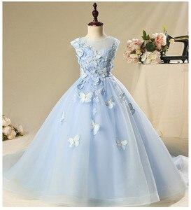 Голубое Тюлевое платье для маленьких девочек кружевное платье для крещения с бабочками и цветочным узором для новорожденных девочек плать...