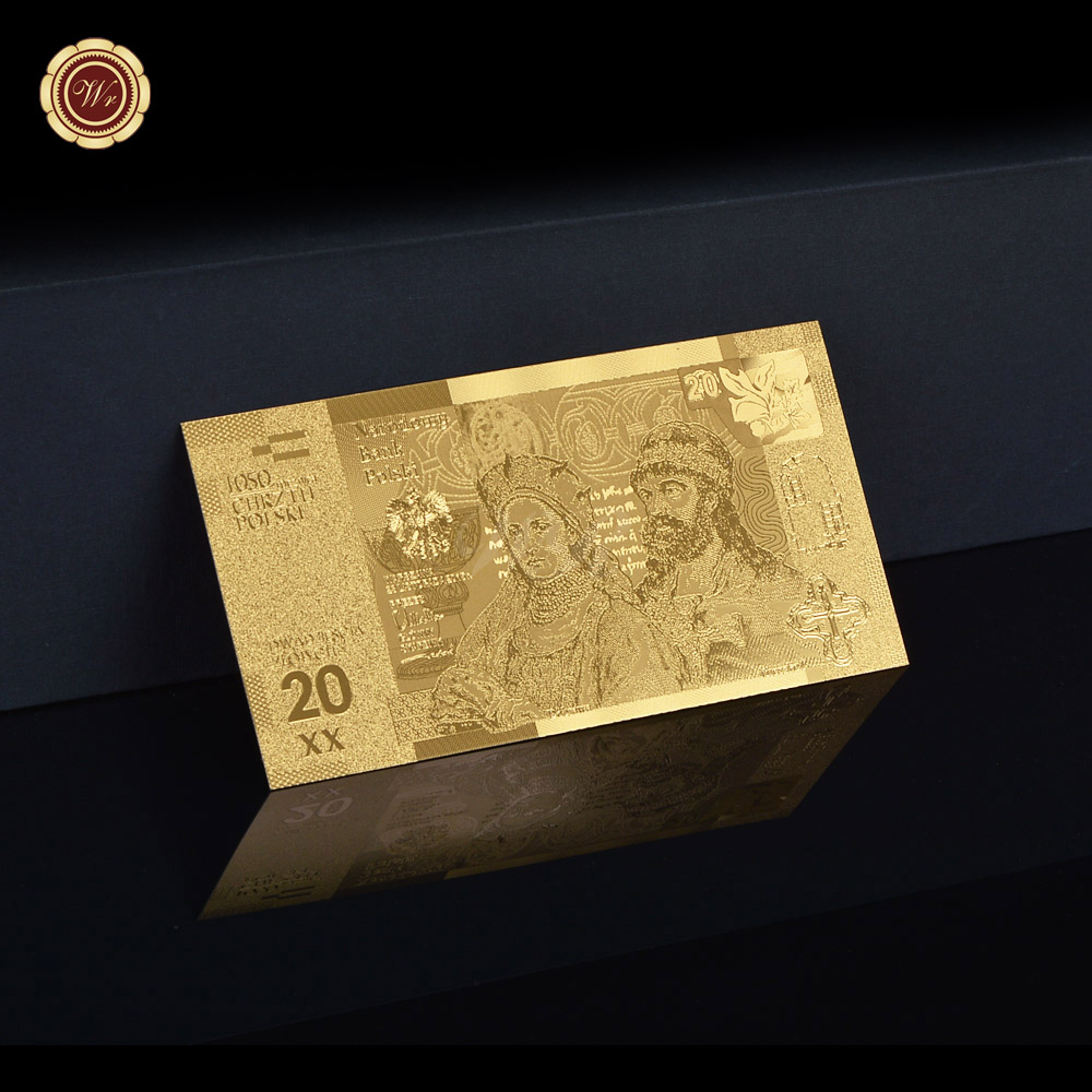 Wholesale <font><b>20</b></font>,50 PLZ Gold Polish <font><b>Banknote</b></font> with COA Frame Fake Money <font><b>Euro</b></font> Notes Business Gift for <font><b>Banknotes</b></font> Collector Dropshipping image