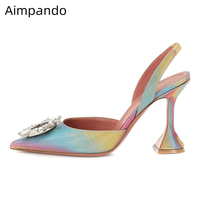 Crystal Buckle Sandals Rainbow Color Cup Heel Shoes Woman Sexy Pointy Toe Decor Rhinestone High Heels Party Shoes Sandalias