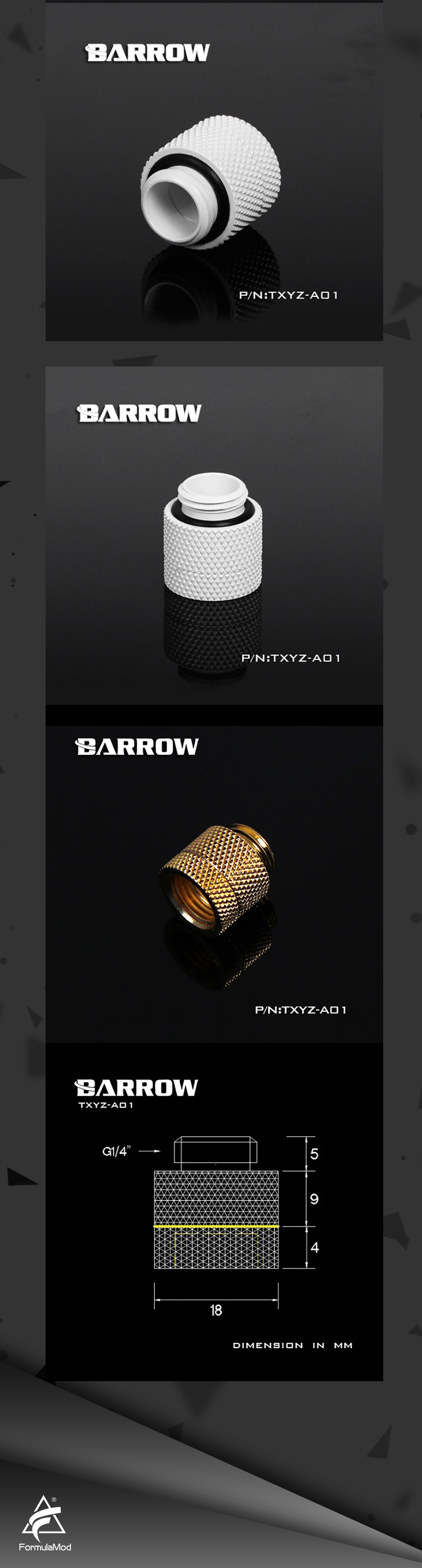 Barrow TXYZ-A01, 13mm Male To Female ExtenderRotary Fittings , G1/4 Male To Female Water Cooling Fittings