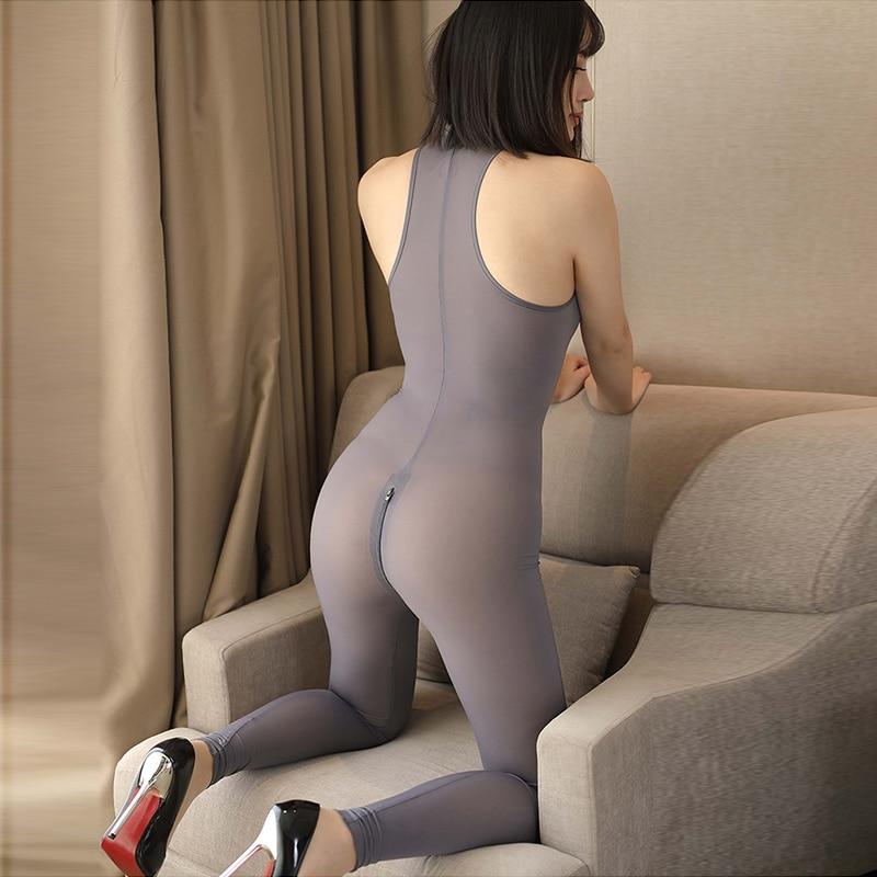 Hight Elastic Mesh Open Long Zipper Open Crotch Bodysuit See Through Women Vest Full Bodystocking Sexy Ultra-thin Tight Jumpsuit