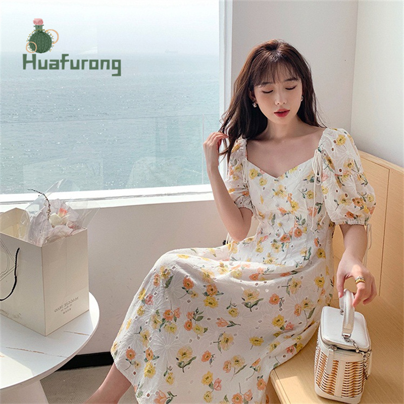 Hollow Embroidery Square-Neck Dress Floral female Summer 2021 New French High-waist Puff Sleeve Front With Buttons 4