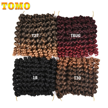 TOMO Synthetic Jumpy Wand Curl Crochet Braids 8/12Inch Ombre Jamaican Bounce Cur Crochet Braiding Hair Extension for Black Women 2