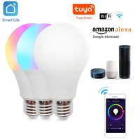 TUYA-bombilla LED E27 RGB de 10w y 15w, foco inteligente con WIFI, regulable, Compatible con Alexa, Control por aplicación, Google Home