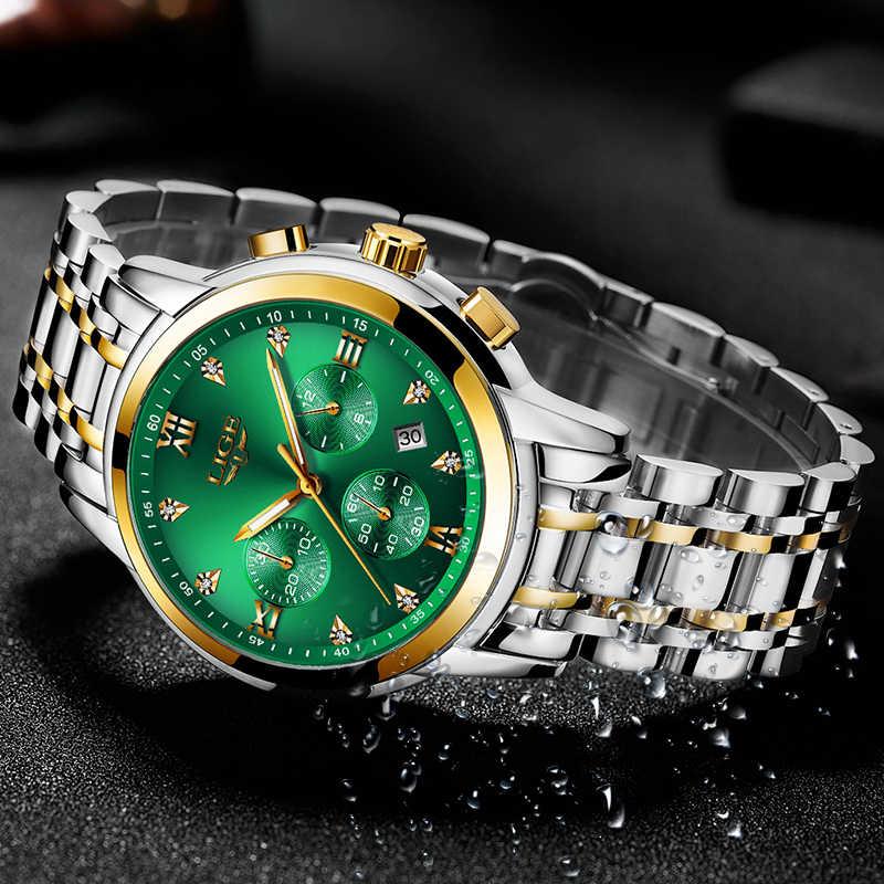Relojes hombre 2020 lige novos relógios homens marca de luxo cronógrafo masculino esporte relógios à prova dwaterproof água aço inoxidável relógio de quartzo