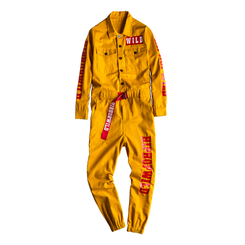 Sokotoo Men's Letters Printed Long Sleeve Yellow Joggers Jumpsuits Youth Overalls Coveralls