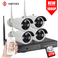 IMPORX 4CH Audio 1080P 2.0MP WIFI NVR Kit Outdoor CCTV IP Camera Security System P2P Wireless Video Surveillance Set 2TB HDD