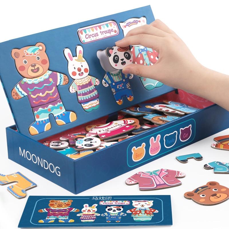 Quebra-cabeça magnética vestido mudando vestir jigsaw grande caixa mudar roupas placa branca desenho crianças cedo brinquedos educativos