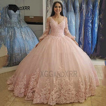 Ball-Gown Quinceanera-Dress Sweet 16-Dress Party Formal Pink 15-Years Long Puffy-Sleeves