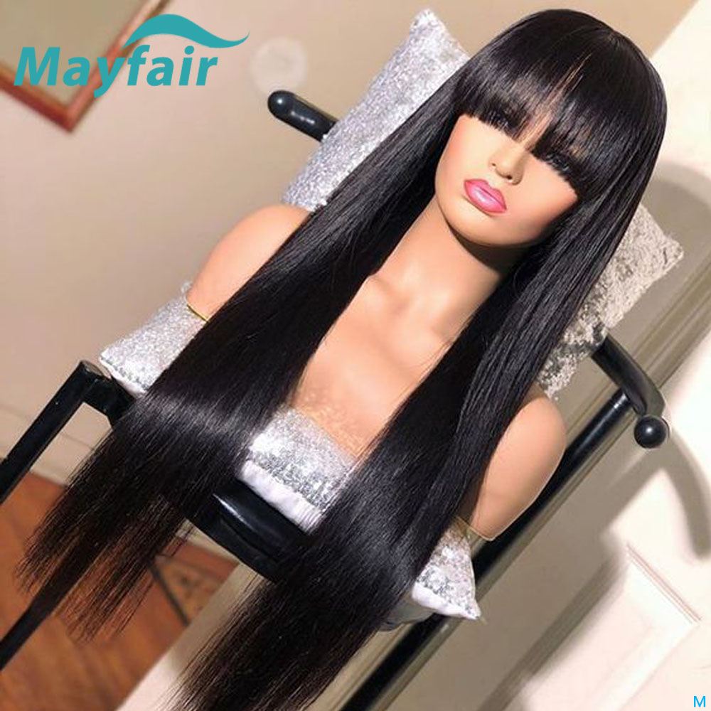 Lace Front Human Hair Wigs With Bangs Brazilian Hair Wigs Straight 13x4 Lace Frontal Wig Remy 150 Density Lace Front Wig Mayfair
