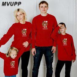 Urso do natal camisola sweatshir olhar família papai mamãe crianças bebê Camisola Crianças camisola Dos Desenhos Animados família olhar bebê gi