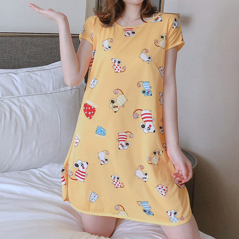 Lady Sleepdress Cute Cartoon Short Sleeve Milk Silk One piece Nightdress Women Dress Sleepwear Cotton Round Neck Print|Nightgowns & Sleepshirts|   - AliExpress