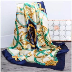 Image 1 - 2020 실크 스카프 여성 90cm 스퀘어 Headscarf 부드러운 목도리 이슬람 여성 스카프 office ladies 머플러 foulard beach bandanna hijab