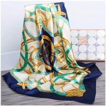 2020 foulard en soie femme 90cm carré foulard doux châle femmes musulmanes foulards bureau dames silencieux foulard plage bandanna hijab