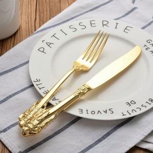 Image 5 - Set de 24 couverts plaqués or, western, vintage, coutellerie luxueuse, cuillères, cuillères à café, couteaux, fourchettes, service de vaisselle de luxe