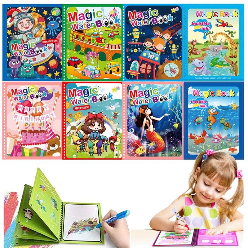 Волшебная книга для рисования водой, игрушки Монтессори, многоразовая книга для раскрашивания, сенсорные Игрушки для раннего развития, под...