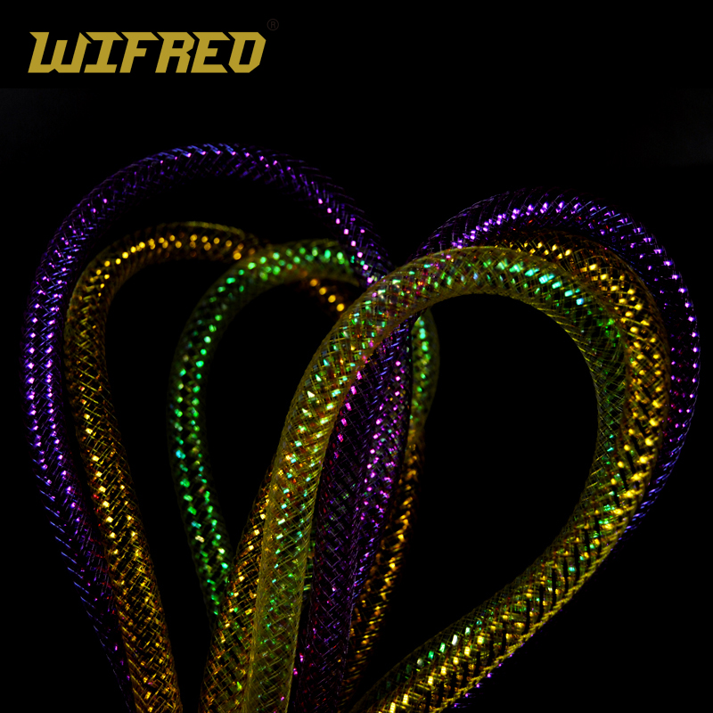 Wifreo 2meter Pearl Gold Pink Holographic Tinsel Mylar Tube Mesh Fly Tying E Z Body Minnow Material 8mm
