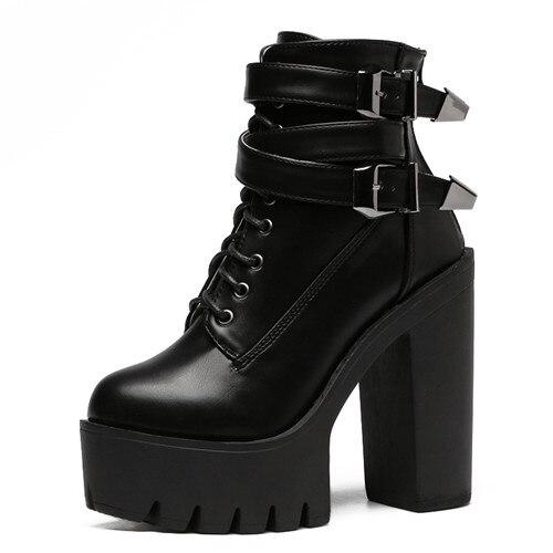 NAUSK printemps automne mode femmes bottes talons hauts plate-forme boucle à lacets en cuir court chaussons noir dames chaussures Promotion
