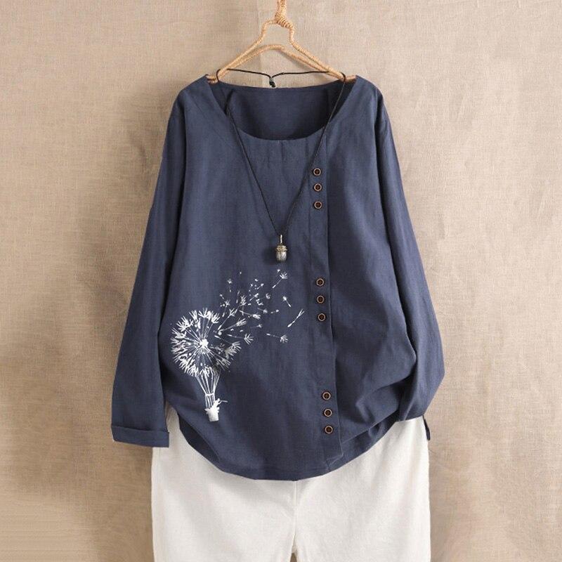 Women's Printed Blouse 2019 ZANZEA Fashion Floral Tops Casual Long Sleeve Basic Tee Shirts Female Cotton Blusas Oversized Tunic