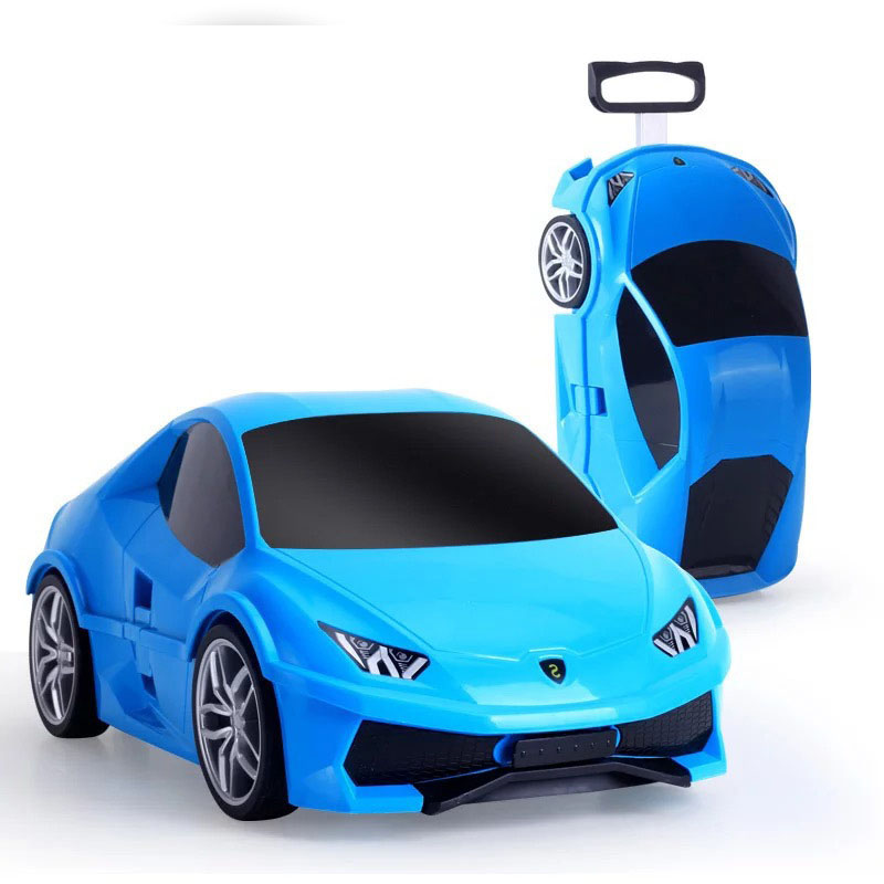 HOT Car Suitcase For Kids Rolling Luggage Baby Sports Car Toy Travel Luggage Children Wheeled Travel Trolley Locker For Boys