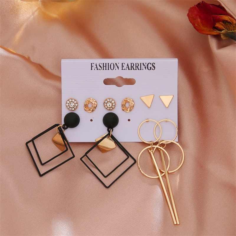FNIO נשים של ציצית פרל עגילים לנשים בוהמי עגילי סט גדול גיאומטרי מתכת זהב זרוק עגיל 2020 תכשיטים