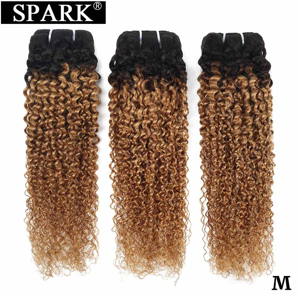 Spark Ombre Brazilian Kinky Curly 10-26inch Human Hair 3/4 Bundles 1B/27 Color With 1B/4/30 Medium Ratio Remy Hair Extensions