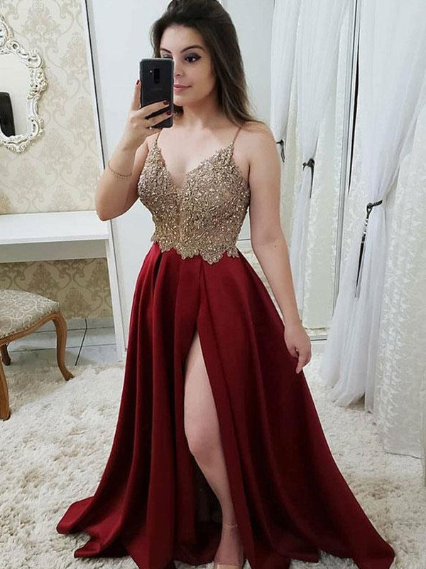 2020 Shinny Sparkle Graduation Dress A-Line/Princess Sleeveless Straps Sweep/Brush Train Beading Satin Dresses For Party