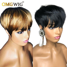 Perruque Lace frontal Wig Pixie, Remy naturel brésilien, blond miel 1B/27, coupe courte, pre-plucked