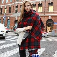 Cheshanf, зимний бренд, Женский кашемировый шарф в клетку, негабаритный, двусторонний, в клетку, многофункциональный, уплотненный, теплый, накидка, шаль, Лидер продаж