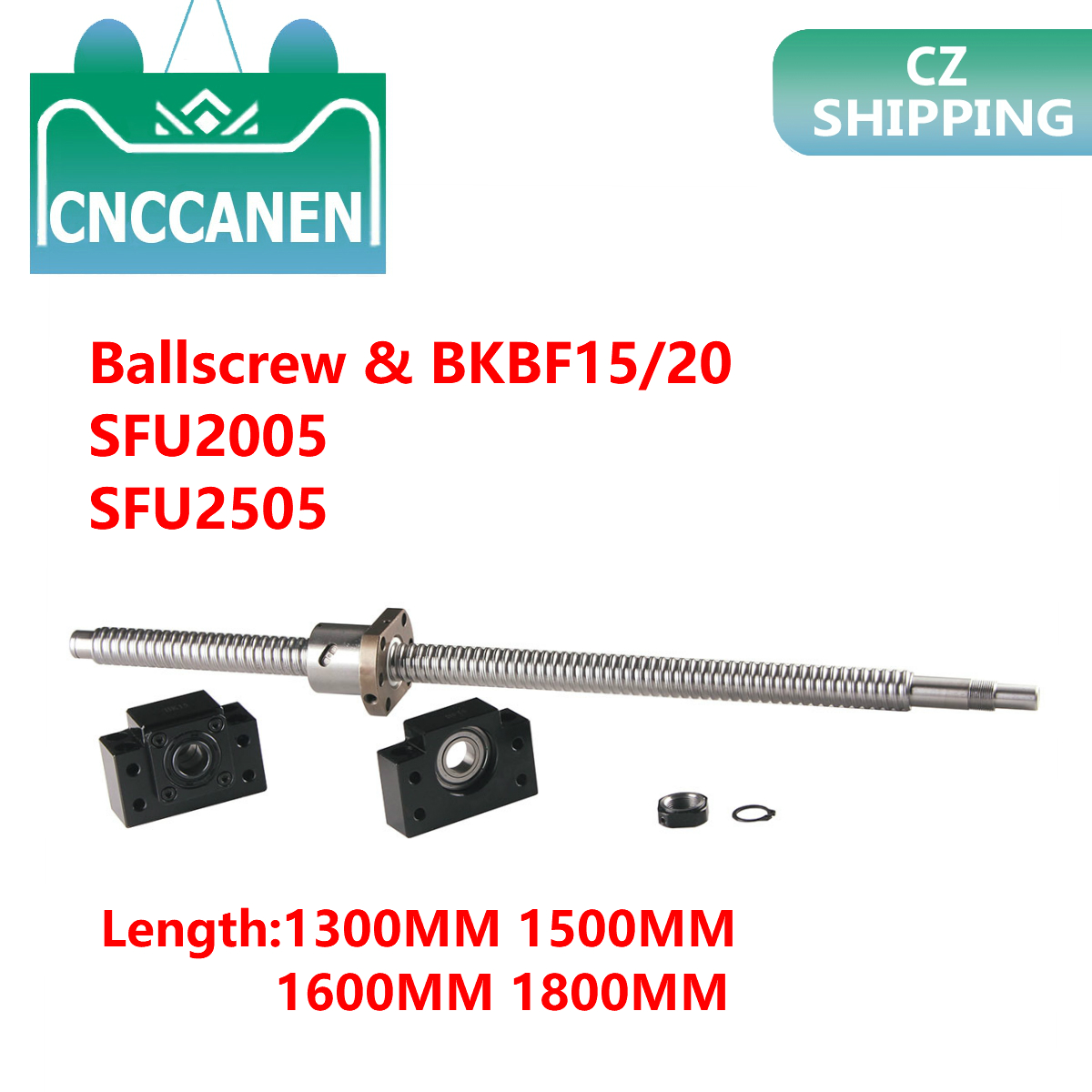 Ball Screw SFU2005 1300mm 1500mm End Machined With BK15/BF15 SFU2505-1600mm 2000mm With BK20/BF20 End Support Bearing Mounts