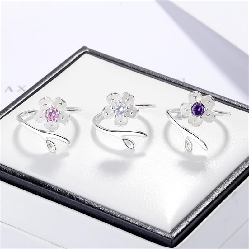 New Fashion Cherry Blossom 925 Sterling Silver Jewelry Cute Temperament Flower Crystal Simple Exquisite Opening Rings SR643
